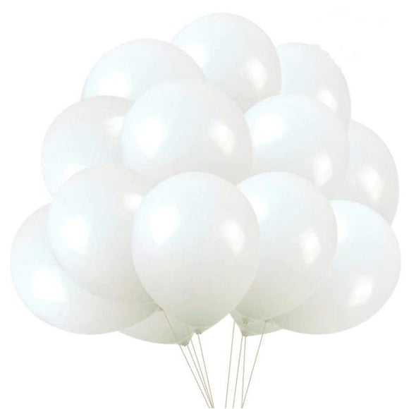 Latex Balloons - White (Pack of 25) - Party Pirates