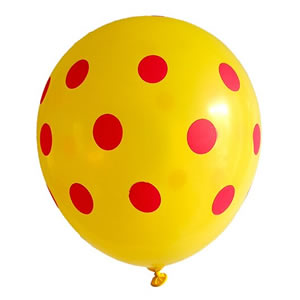 Polka Dot Latex Balloons - Yellow (Pack of 25)