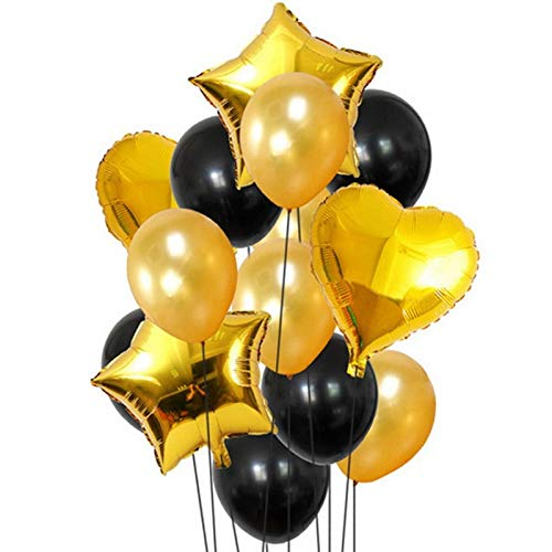 Balloon Set of 10 Pcs : Golden & Black