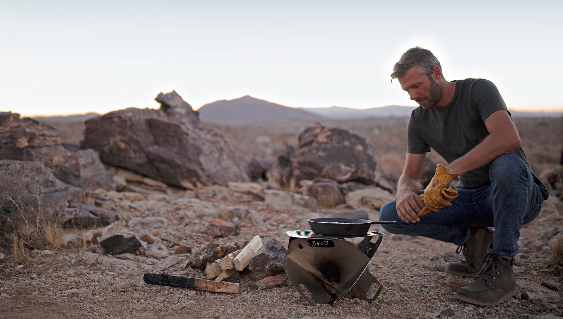 Designer David Grisham and his Fireflower Spark portable fire pit