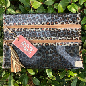 Livin' In Leopard Clear Double Zipper Versi Bag