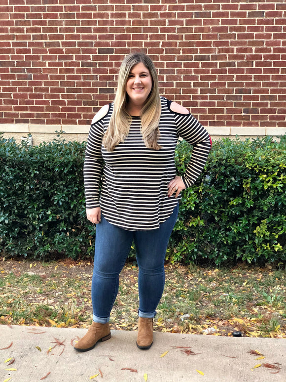 Aimee's Cold Shoulder Striped Tee