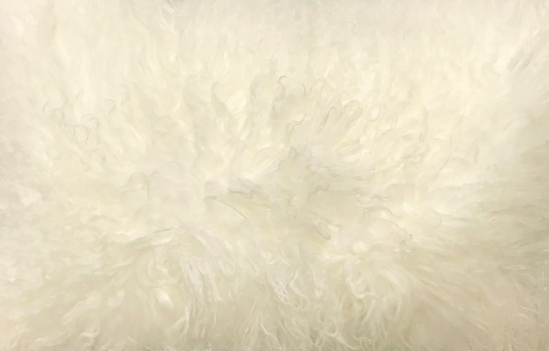 "17"" Creamy Genuine Tibetan Lamb Fur Pillow with Microsuede Backing"