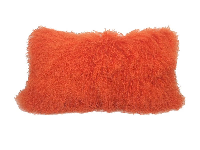 "17"" Orange Genuine Tibetan Lamb Fur Pillow with Microsuede Backing"