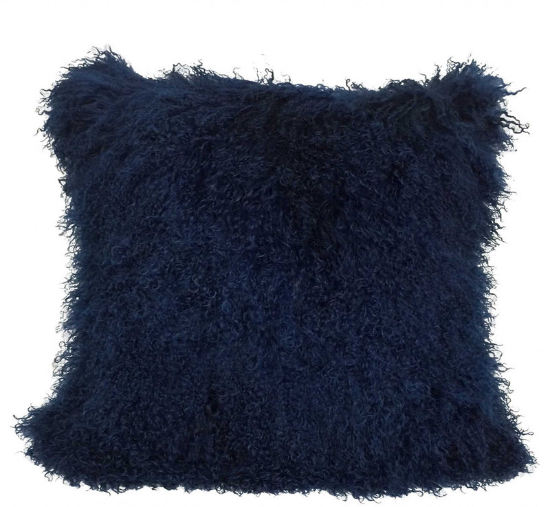 "20"" Navy Blue Genuine Tibetan Lamb Fur Pillow with Microsuede Backing"