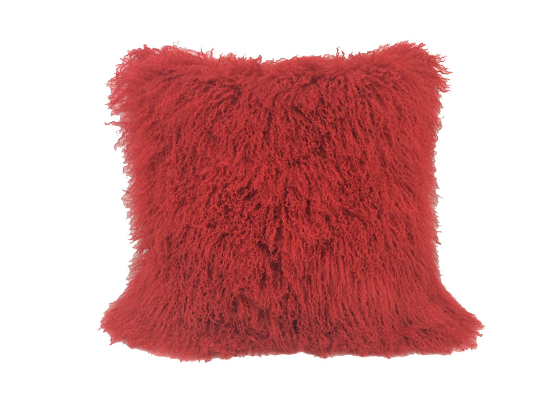 "20"" Red Genuine Tibetan Lamb Fur Pillow with Microsuede Backing"