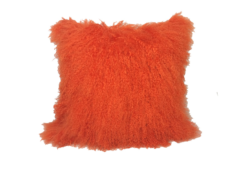 "20"" Orange Genuine Tibetan Lamb Fur Pillow with Microsuede Backing"