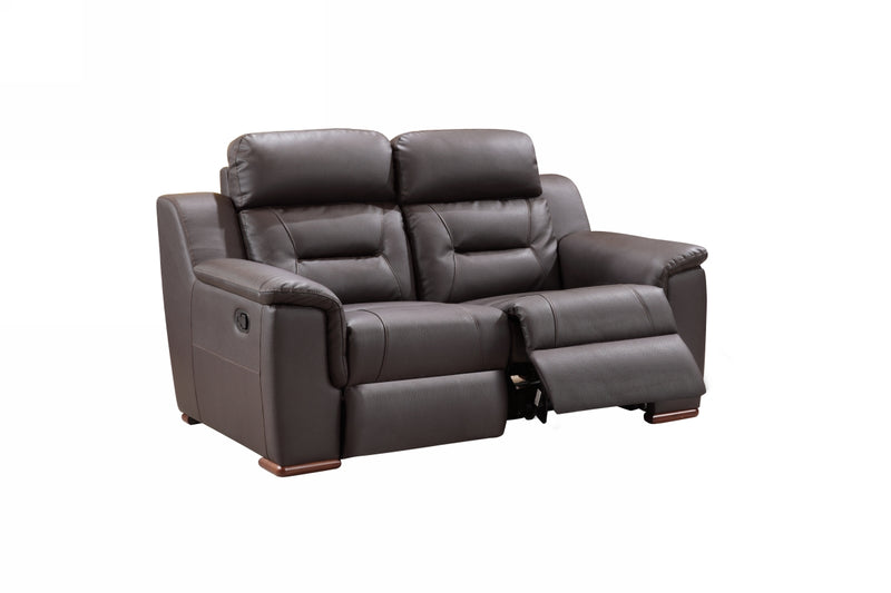 67'' X 41''  X 41'' Modern Brown Leather Loveseat