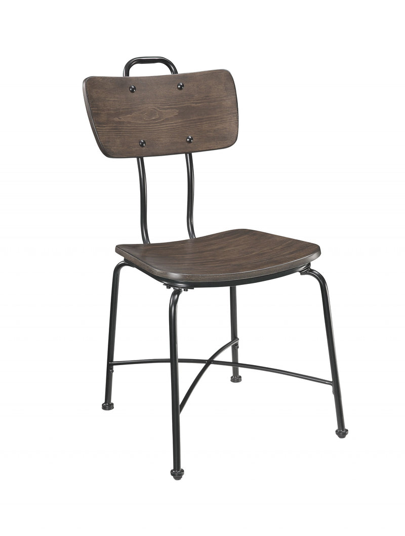 "21"" X 18"" X 37"" Walnut Black Metal Wood Side Chair (Set of 2)"