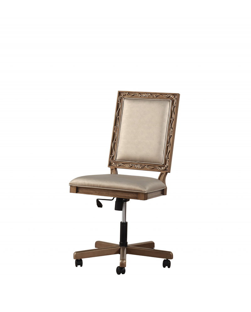 "24"" X 22"" X 41"" Champagne PU Antique Gold Wood Upholstered (Seat) Executive Office Chair"