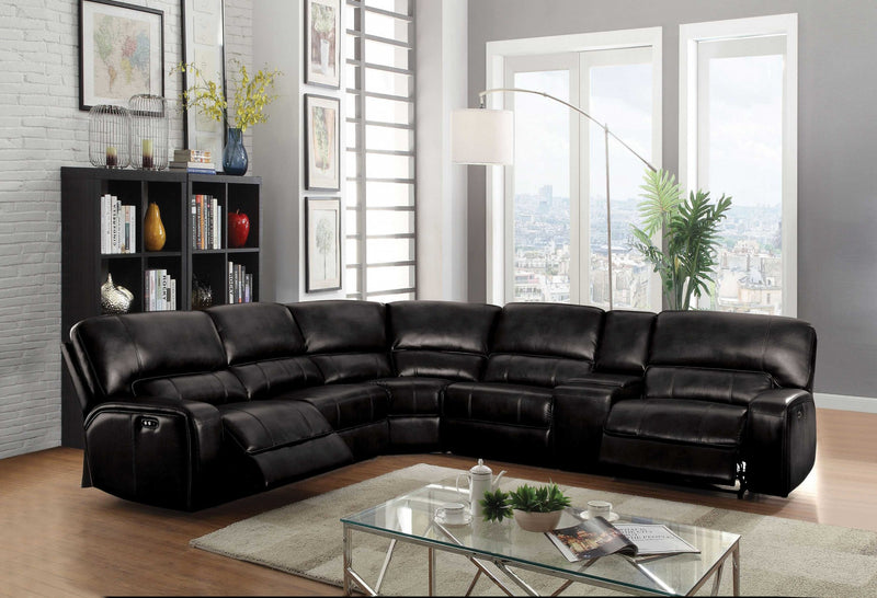 "138"" X 127"" X 41"" Black Leather-Aire Upholstery Metal Reclining Mechanism Sectional Sofa (Power Motion/USB Dock)"