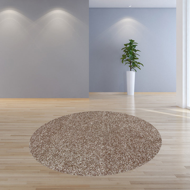 8' Round Polyester Beige Heather Area Rug