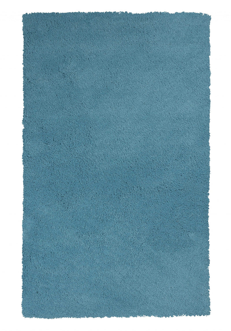 "7'6"" X 9'6"" Polyester Highlighter Blue Area Rug"