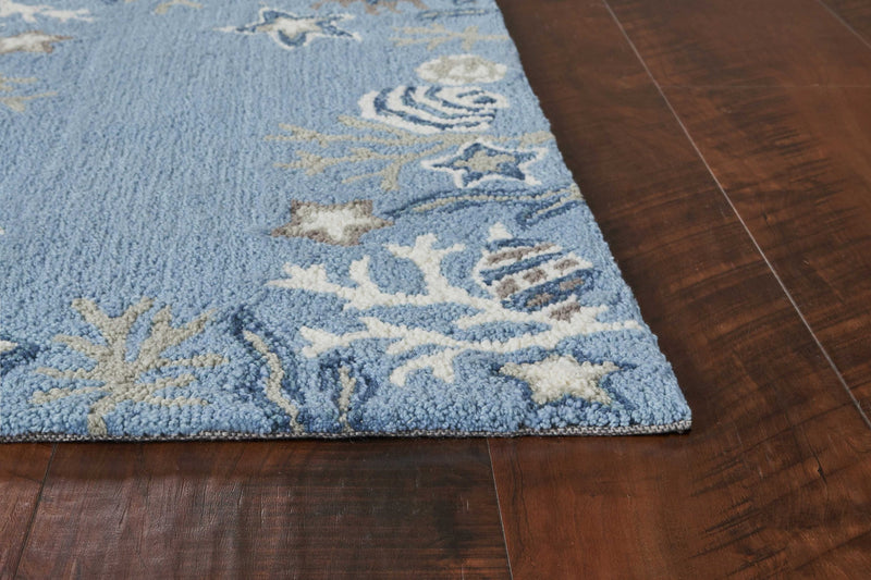"5' x 7'6"" Polyester Sea Blue Area Rug"