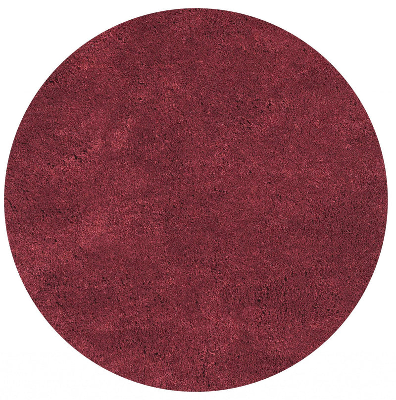 6' Round Polyester Red Area Rug