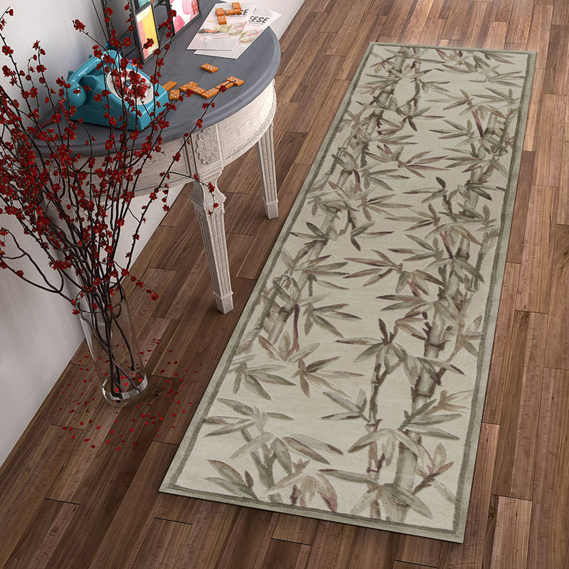 "2'6"" x 10' Runner Wool Ivory Area Rug"