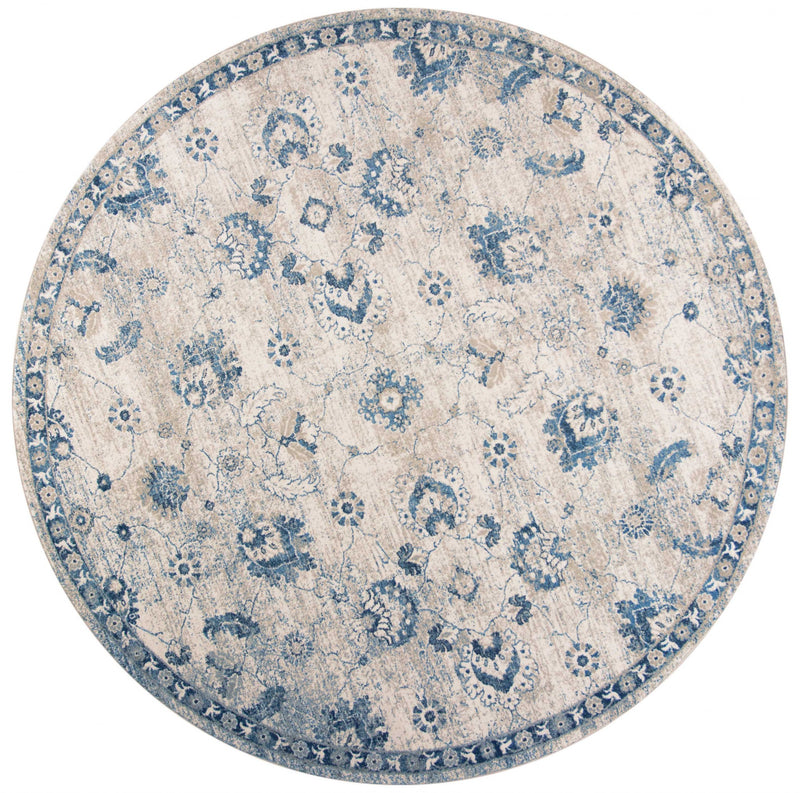 "7'7"" Round Polypropylene Grey/Blue Area Rug"