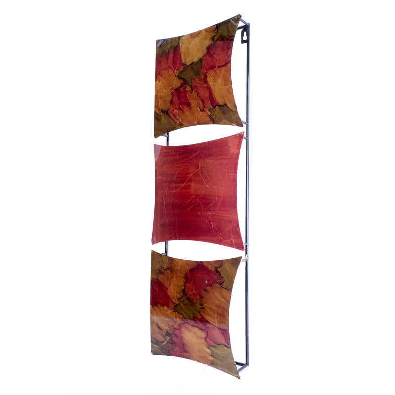 "8"" X 2'.75"" X 24'.5"" Copper, Red and Gold Metal Vertical Panel Wall Decor"