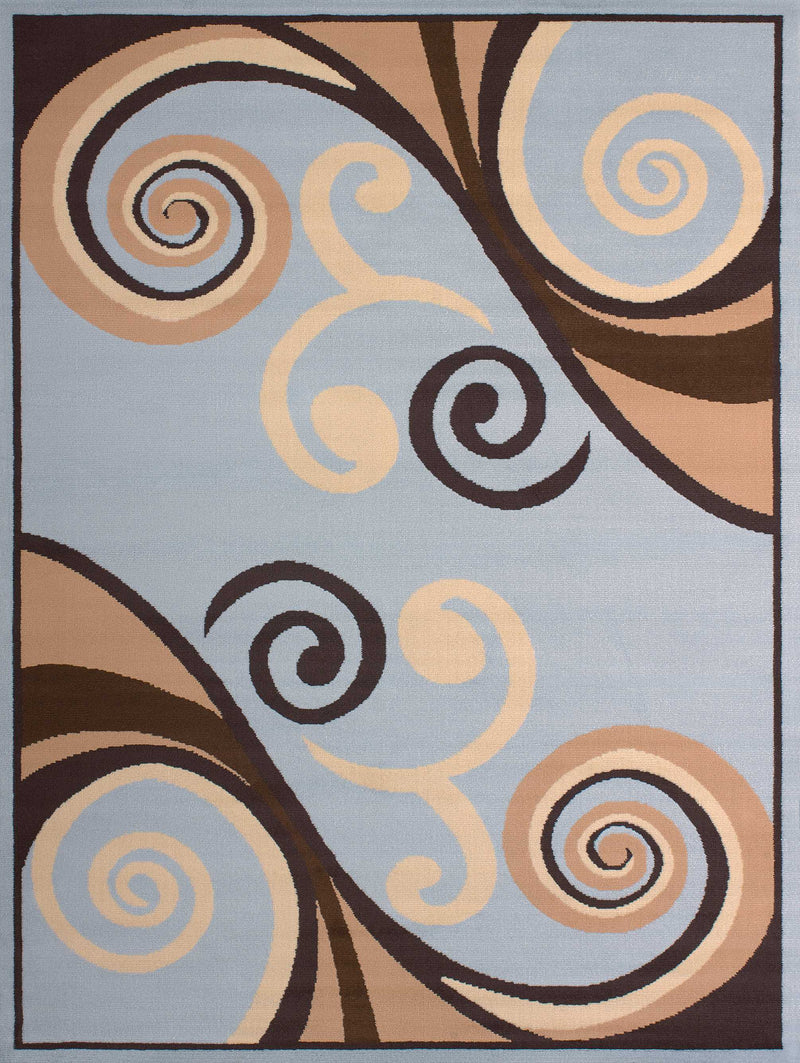 "63"" x 86"" x 0.31"" Blue Polypropyelene Area Rug"
