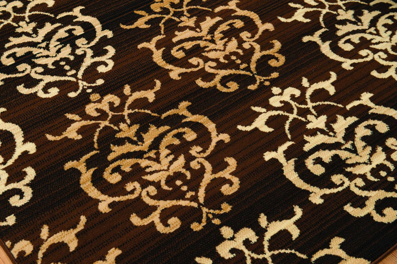 "27"" x 86"" x 0.31"" Brown Polypropyelene Runner Rug"
