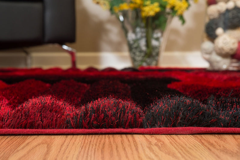 "94"" x 126"" x 1.2"" Red Polyester Oversize Rug"