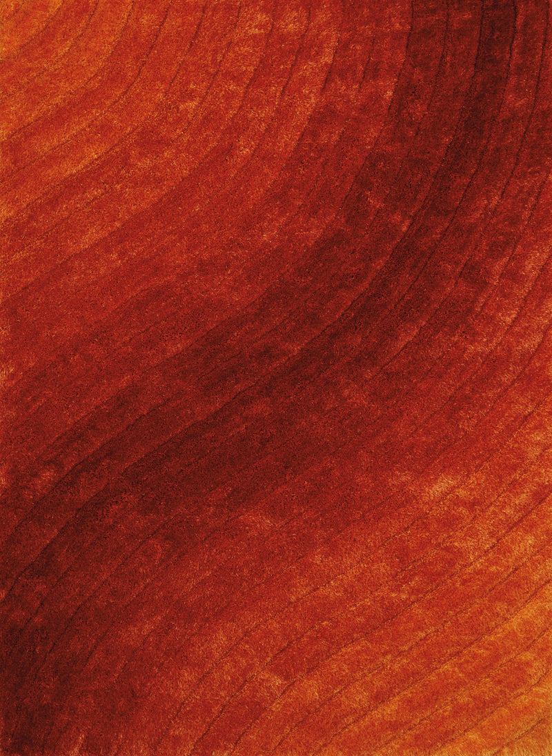 "63"" x 86"" x 1.2"" Burnt Orange Polyester Area Rug"