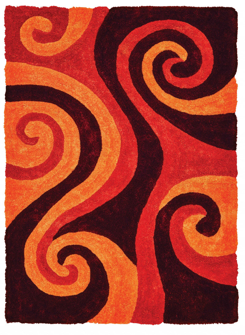 "22"" x 26"" x 1.2"" Burnt Orange Polyester Accent Rug"