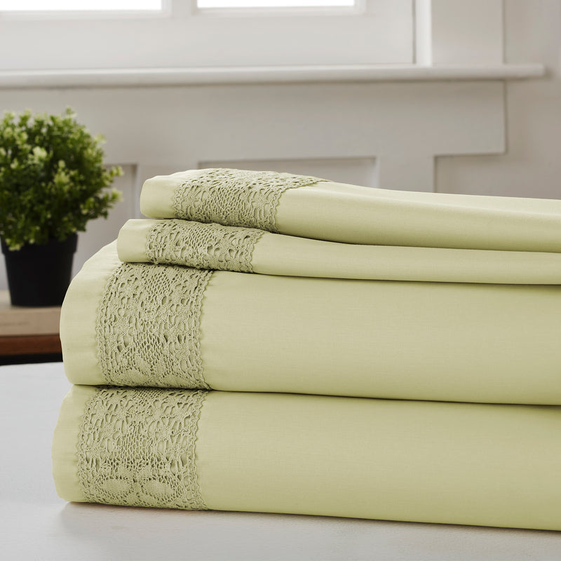 Pisa 4 Piece Diamond Lace Hem king Size Sheet Set The Urban Port, Green