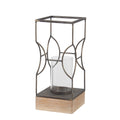 Wood and Metal Lantern with Geometric Details, Gray and Brown