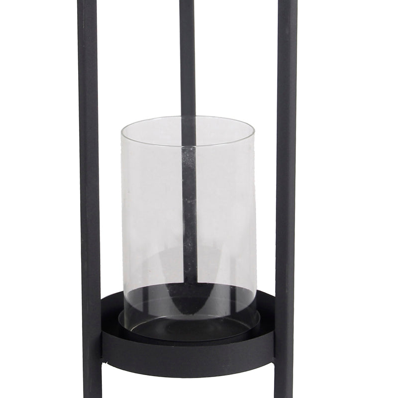 Transitional  Metal Lantern with Glass Hurricane, Medium, Gray