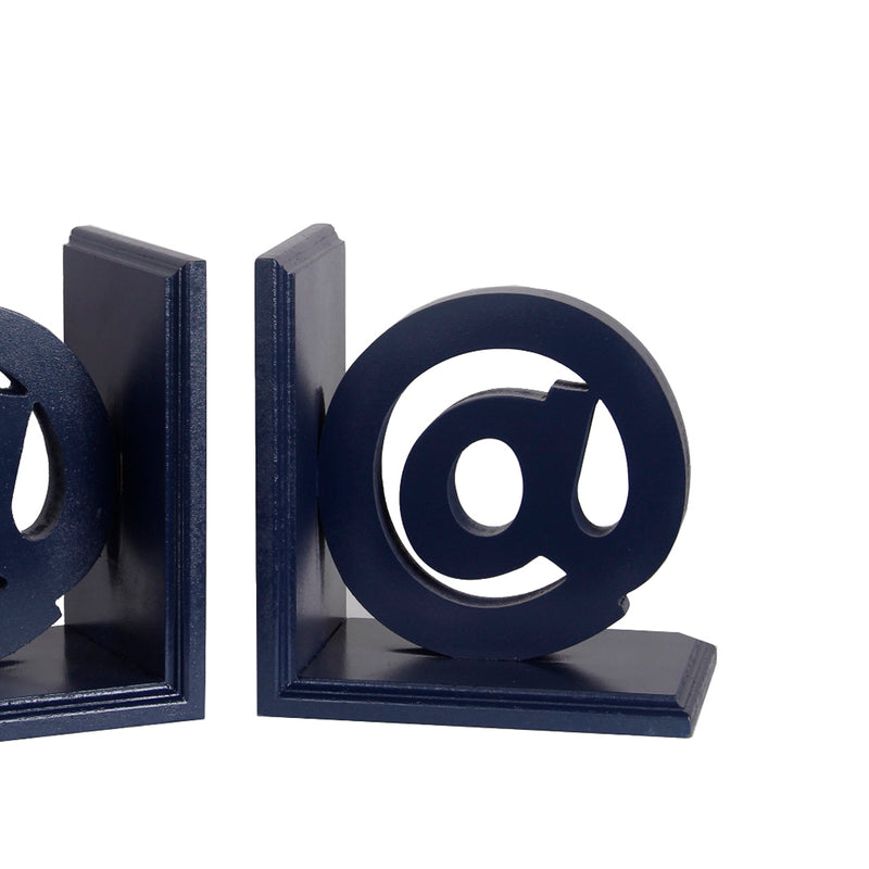 Contemporary At Symbol Wooden Bookends with Cut Out Accents, Blue