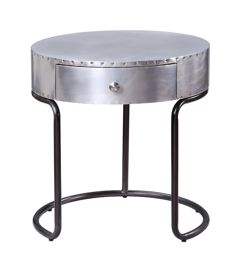 Aluminum Patchwork Wooden End Table with Metal Cantilever Base, Silver