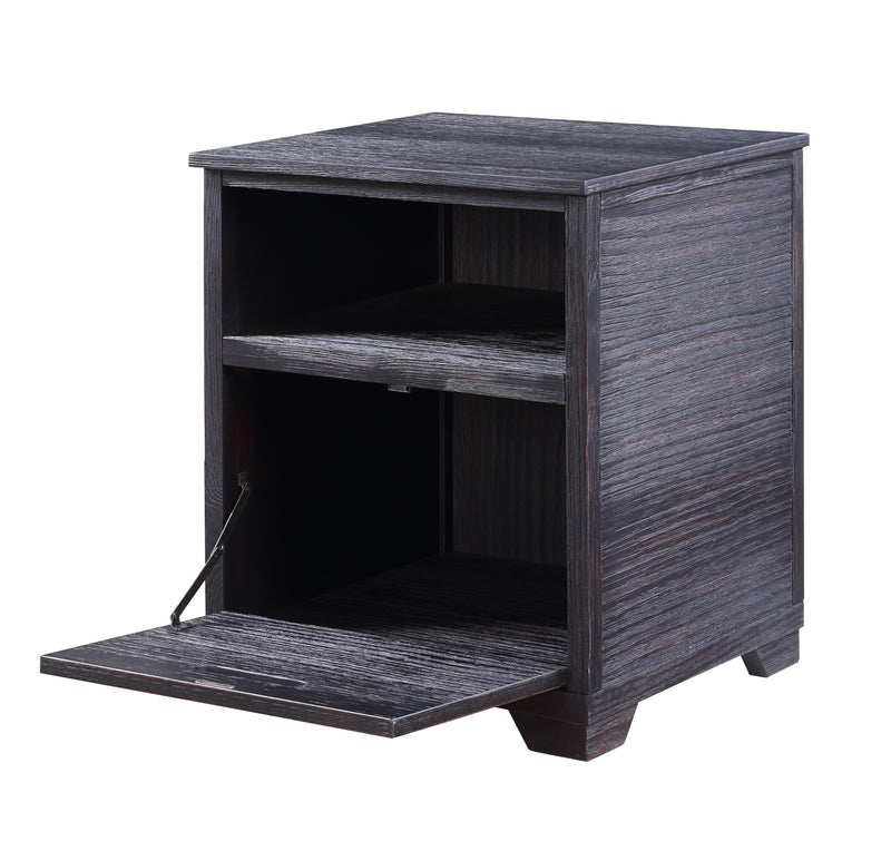 Rugged Textured Wooden End Table with Drop Down Storage, Black