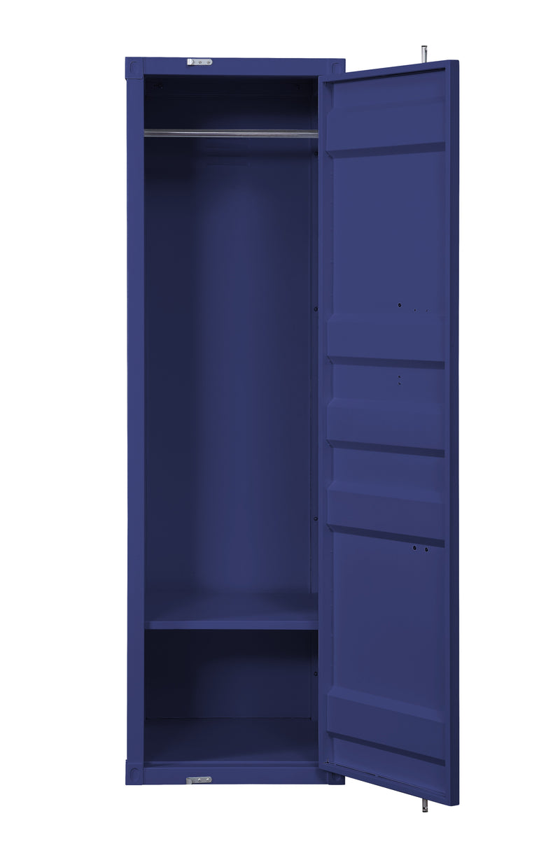 Industrial Style Metal Wardrobe with Recessed Door Front, Blue