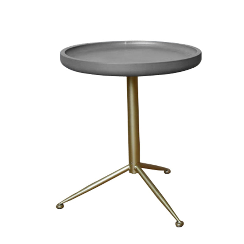 Round Wooden Side Table with Tripod Base, Large, Gold and Gray