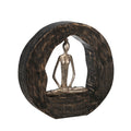 Siddhasana Pose Lady Figurine in Metal Circle, Brown and Silver