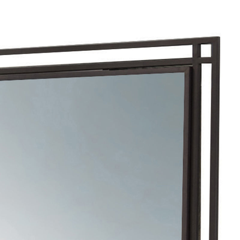 Square Shape Wooden Mirror with Metal Dual Frame, Brown and Silver
