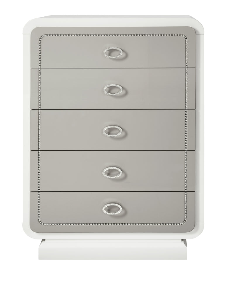 Contemporary Style Wooden Chest with 5 Drawers, White and Gray