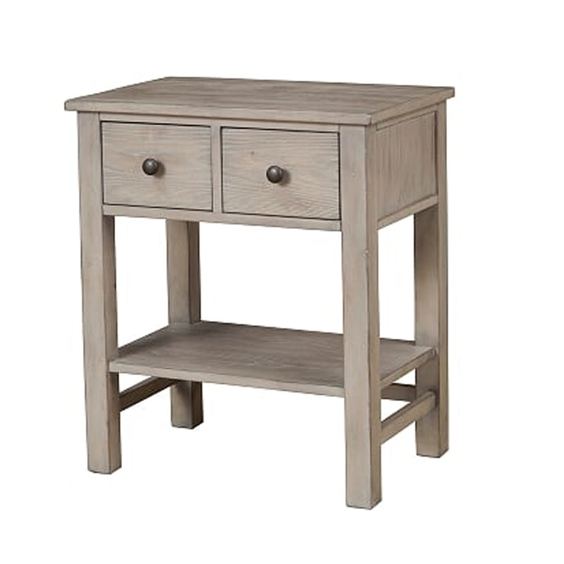Transitional Nightstand with Two Drawers and Bottom Shelf, Gray