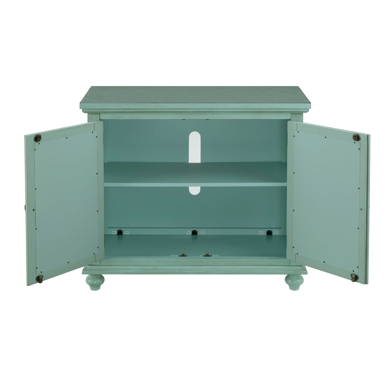Wood and Glass TV Stand with Trellis Cabinet Front, Mint Green