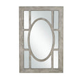 Window Pane Rectangular Wooden Frame Wall Mirror, Antique Gray and Silver