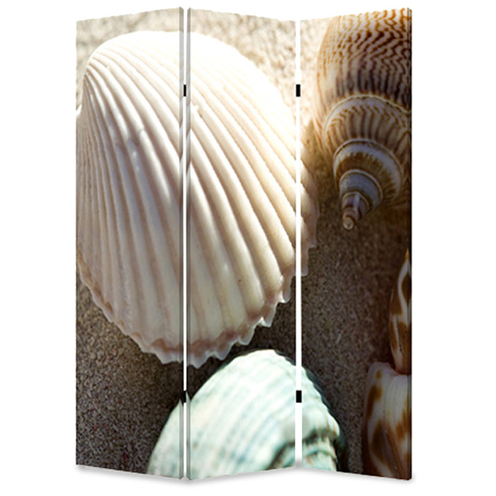 3 Panel Foldable Canvas Screen with Seashell Print, Brown and White