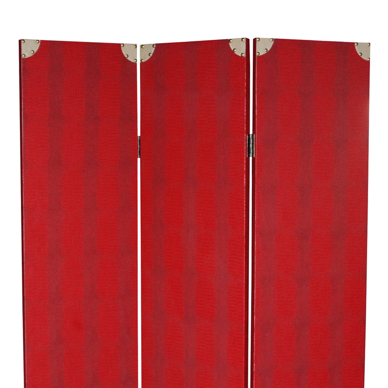 Transitional 3 Panel Wooden Screen with Nailhead Trim, Red