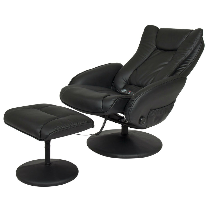 Sturdy Black Faux Leather Electric Massage Recliner Chair w/ Ottoman