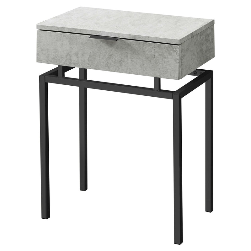 24in Modern End Table 1 Drawer Nightstand Grey with Black Metal Legs