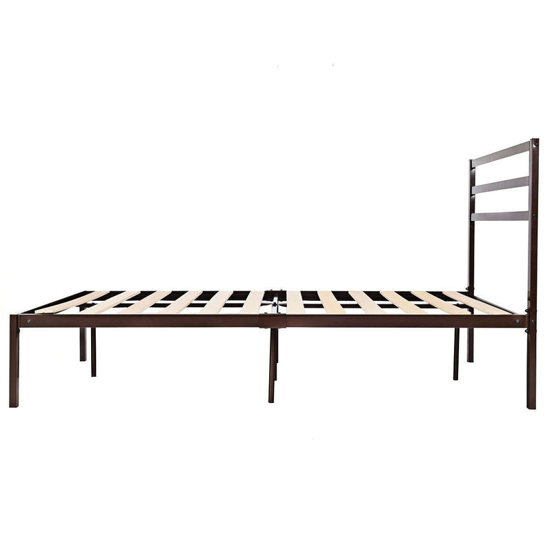 Queen Size Steel Platform Bed Frame with Headboard in Dark Brown Finish