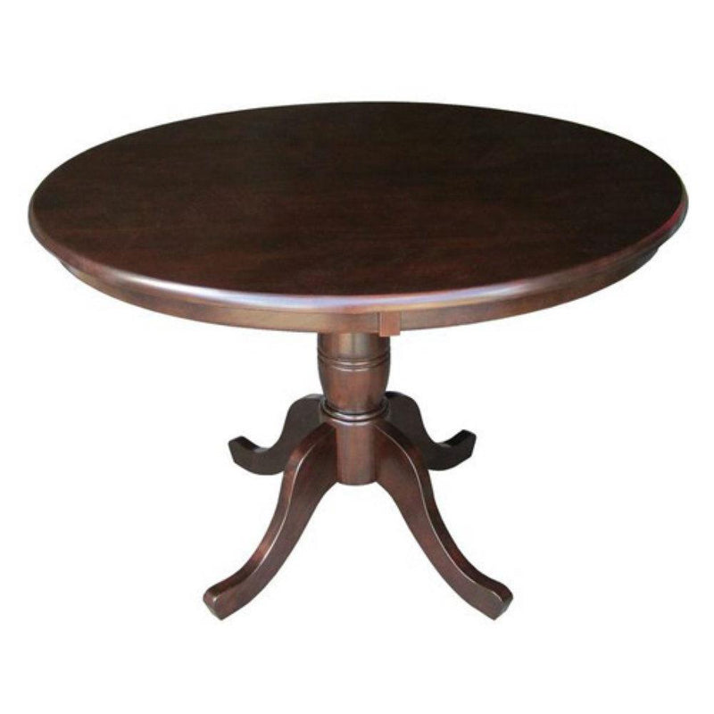 Round 36-inch Solid Wood Kitchen Dining Table in Rich Mocha