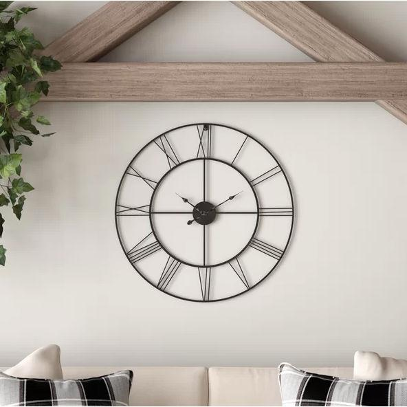 Round 24-inch Metal Wall Clock with Roman Numerals