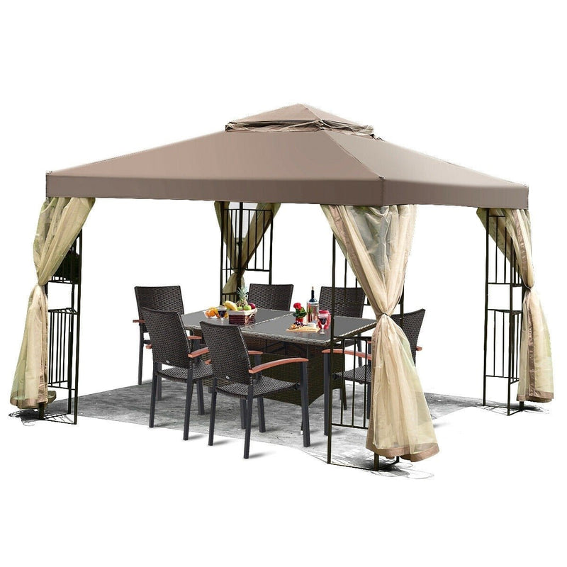 10 x 10 Ft Outdoor Patio Gazebo with Taupe Brown Canopy and Mesh Sidewalls