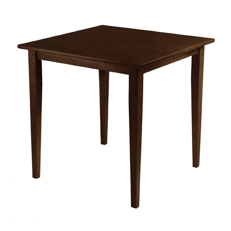 Square Wood Shaker Style Dining Table in Antique Walnut Finish